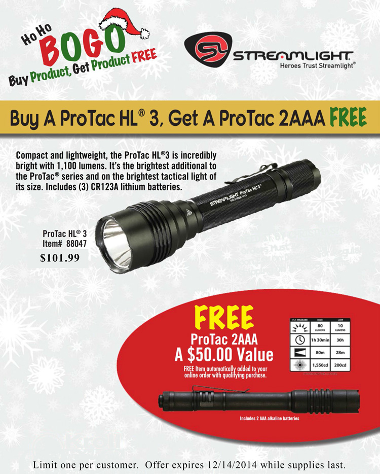 Get a FREE Streamlight ProTac 2AAA with purchase of a ProTac HL 3