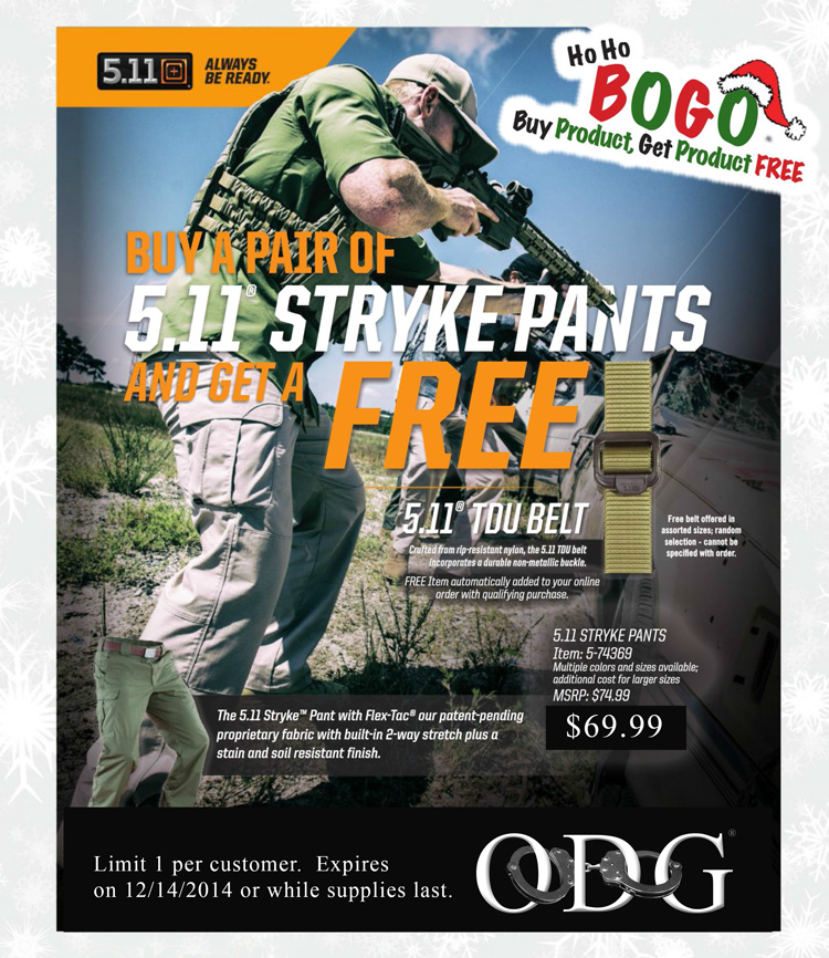 Get a FREE 5.11 TDU Belt with purchase of 5.11 Tactical Stryke Pants